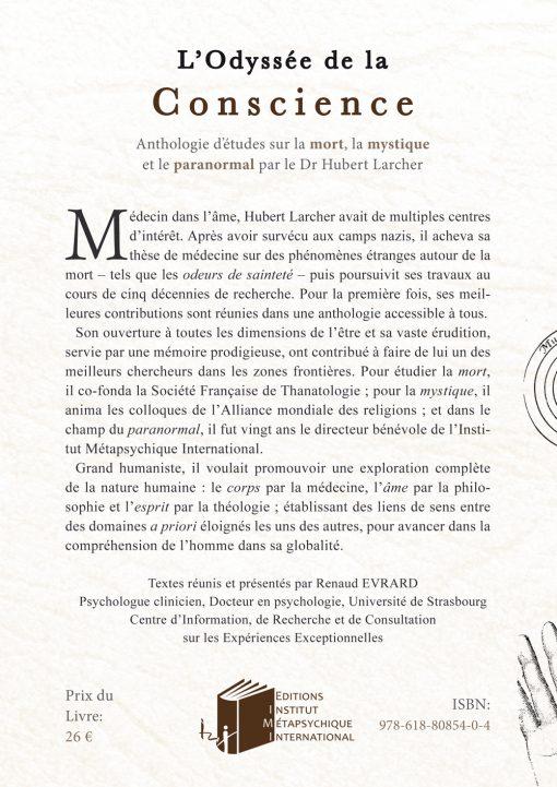 Οπισθόφυλλο, L'Odyssee de la Conscience, Εκδόσεις iWrite