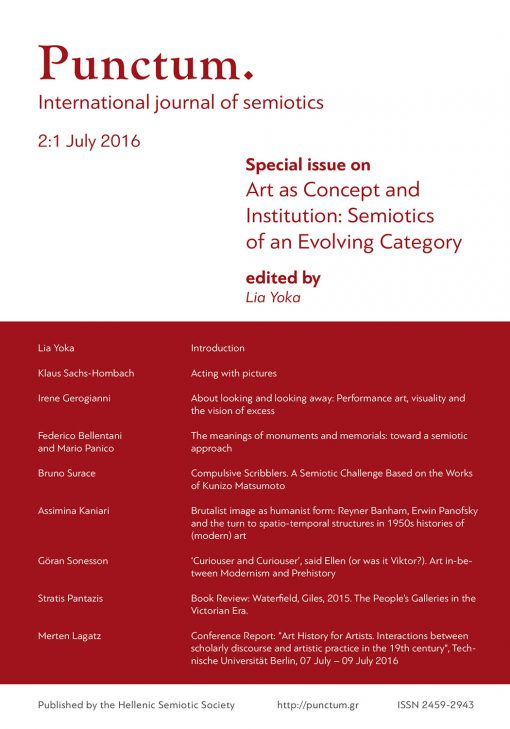 Punctum 2(1) - July 2016, Special issue on Art as Concept and Institution: Semiotics of an Evolving Category, Ελληνική Σημειωτική Εταιρία & Εκδόσεις iWrite - www.iWrite.gr
